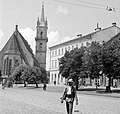 Beszterce 1942, Evangélikus templom a Fa utca (strada Liviu Rebreanu) felől nézve. Fortepan 5020.jpg