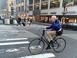 Bill Cunningham (American photographer) - Image: Bill Cunningham on Bike in Midtown on May 12th 2016