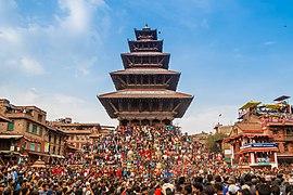 Bisket Jatra festival 2018 at the Nyatapola temple, Bhaktapur.jpg