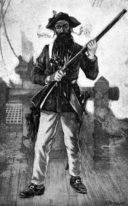 Blackbeard at Attention with Rifle
