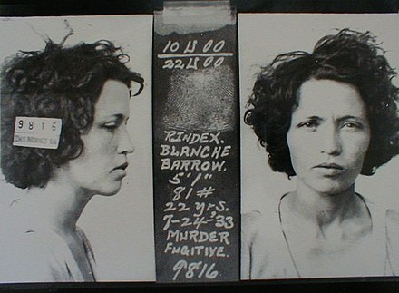 Blanche never carried a gun; she was convicted of attempted murder and served six years. BlancheBarrowMug1933.jpg