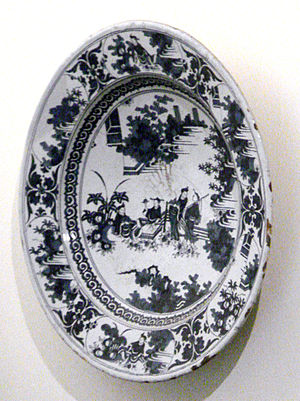 Nevers manufactory - French adaptation: Blue and white ceramic with Chinese scene, Nevers manufactory, France, end of the 17th century.