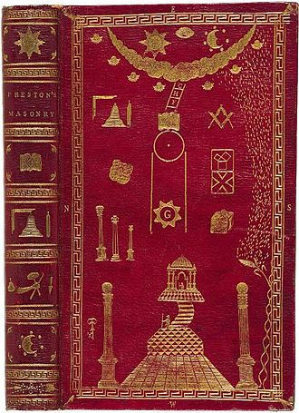 William Preston (Freemason) - An 1804 edition of Illustrations of Masonry in a custom binding decorated with Masonic emblems