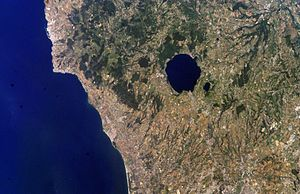 Monti Sabatini - A view from the space of the Sabatini region, showing Lake Bracciano as the dark round structure. Source: Nasa Shuttle.