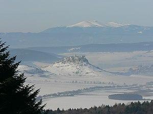 Branisko (mountain range) - View of Spiš Castle, from the Branisko-pass