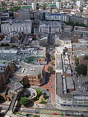 Looking across the Broadmead Shopping Centre from a balloon at 500feet (150m)