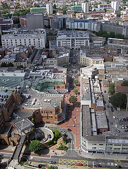 Looking across the Broadmead Shopping Centre from a static balloon at 500 feet