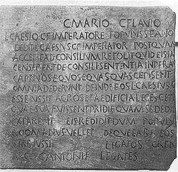 Bronze de Alcántara, ou Tabula Alcantarensis, inscrição romana na Lusitânia