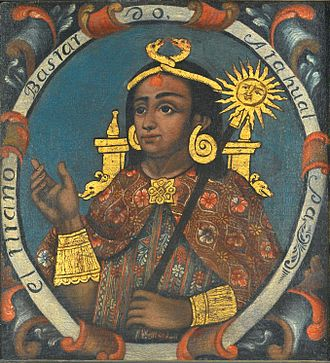 Atahualpa - Atahualpa, Fourteenth Inca 18th century painting by the Cusco School, (Brooklyn Museum)