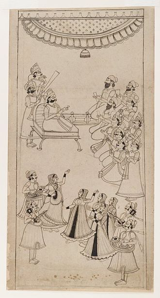Nautch - A Raja awaits the arrival of Nautch dancers