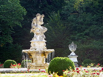 Fürstenried Palace - The fountain sculpture of a faun adorns the baroque part of the park