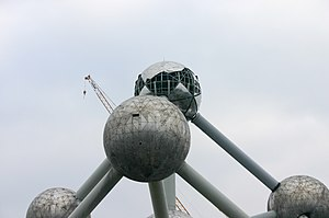Atomium - Brussels' Atomium under renovation in February 2004