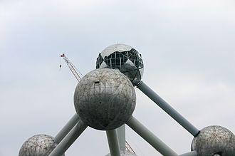 Atomium - Brussels' Atomium under renovation in February 2004