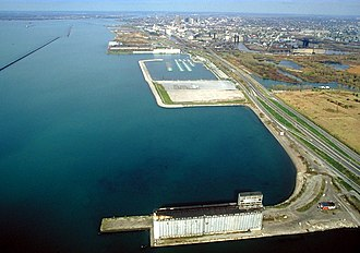 Transportation in Buffalo, New York - The Buffalo Outer Harbor in 1992. Northeast of the city is the Niagara River.