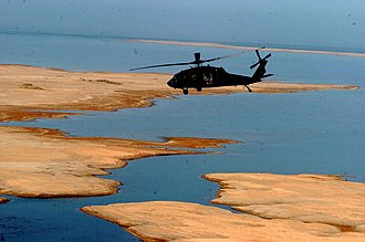 2008 in Iraq - US Army helicopter over Buhayrat al-Habbaniyah, 2008