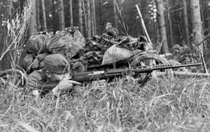 SVT-40 - A German soldier firing a captured SVT-40