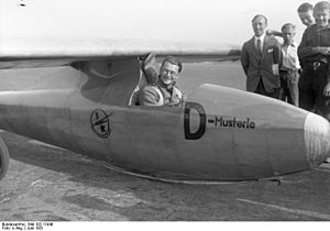 Wolf Hirth - Wolf Hirth waiting for a launch in the Laubenthal H2-PL ''Musterle'' glider, ca 1931