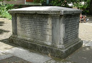 Thomas Belsham - Tomb of Theophilus Lindsey (d. 1808), Elizabeth Rayner (d. 1800) and Thomas Belsham (d. 1829) in Bunhill Fields burial ground