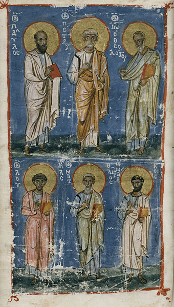 File:Byzantine - Miniature with the Apostles Paul and Peter and the Evangelists John, Luke, Matthew, and Mark - Walters W530C.jpg