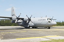 A C-130E from the 198th Airlift Squadron based at Muñiz Air National Guard Base.