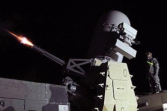 Counter Rocket, Artillery, and Mortar - 2010 test-fire of a C-RAM. Balad, Iraq