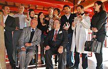 Da sinistra: Francesco Grassi, Marino Franzosi, Beatrice Mautino, Piero Angela, Marta Annunziata, Paolo Attivissimo, Francesca Guizzo, Steno Ferluga, Massimo Polidoro, Luigi Garlaschelli, Paola De Gobbi