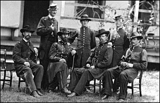 Charles C. Walcutt - Maj. Gen. Walcutt (seated, 2nd from right) and his staff near the end of the American Civil War