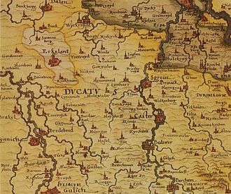 Rheindahlen - 1557 map of the Lower Rhine region, between the Rhine, Erft and Rur with the village of Dalen in the north