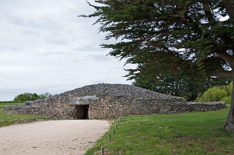 The restored cairn of the dolmen called 'La Table des Marchand' in Locmariaquer (Morbihan, Brittany, France)
