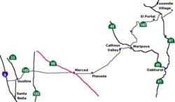 Major highways near Merced