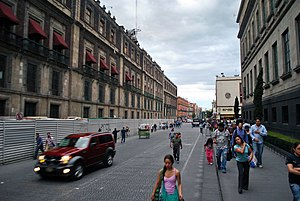 La Merced (neighborhood) - Corregidora Street near the Zocalo, entering the barrio