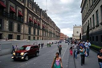 La Merced (neighborhood) - Corregidora Street near the Zocalo, entering the barrio