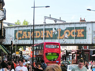 London Borough of Camden - View of the railway bridge over Camden High St. which carries the North London Line