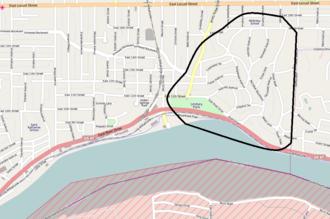 Camp McClellan (Iowa) - Boundaries of Camp McClellan shown over a map of present-day Davenport, Iowa
