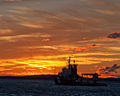 Canadian Coast Guard vessel Samuel Risley leaves Parry Sound at dusk.jpg