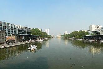 Bassin de la Villette - View from the Rotonde de la Villette towards the old warehouses