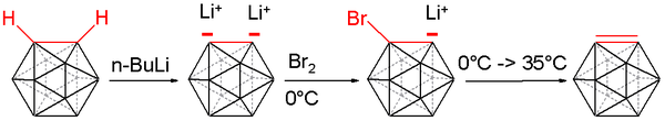 Carboryne synthesis, main chemical bonds involving carbon in red