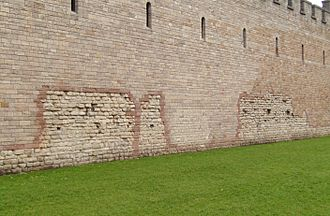 Cardiff - The front wall of Cardiff Castle, showing part of the original Roman fort from which the city probably derived its name