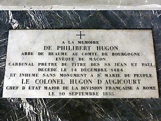 Philibert Hugonet - His memorial tablet in the Basilica of Santa Maria del Popolo where he was buried