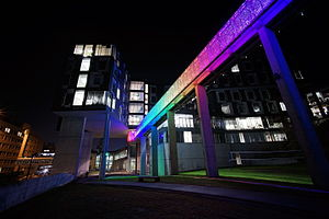 Carnegie Mellon School of Computer Science - The Randy Pausch memorial bridge has LEDs that glow different colours at night.