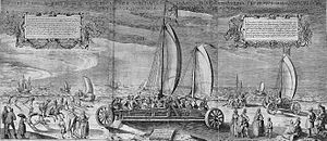 Willem Isaacsz. van Swanenburg - The Sailing Chariot, ca. 1603. Simon Stevin's invention of the wind car