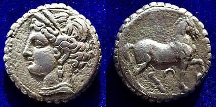 Hannibal's financial reform of Carthage after the loss of the 2nd Punic War: A Tetradrachm of Tanit & a horse, underweight with a serrated edge. About 200 BC Carthage Tetradrachm Tanit & Horse, with a Serrated Edge. About 200 BC.jpg