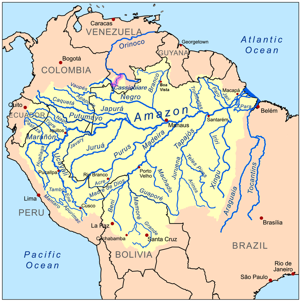 Casiquiare Canal Wikipedia - United states major river systems map
