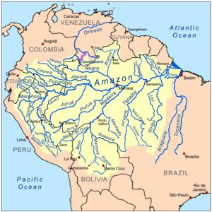 Casiquiare canal - Image: Casiquiarerivermap