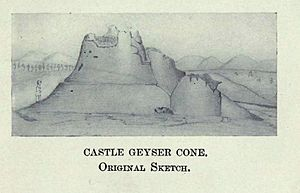 Castle Geyser - Sketch of Castle Geyser by the Washburn Expedition.