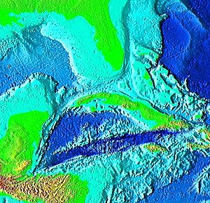 Cayman Trough - False-color image of the Cayman Trough, created from digital databases of seafloor and land elevations.