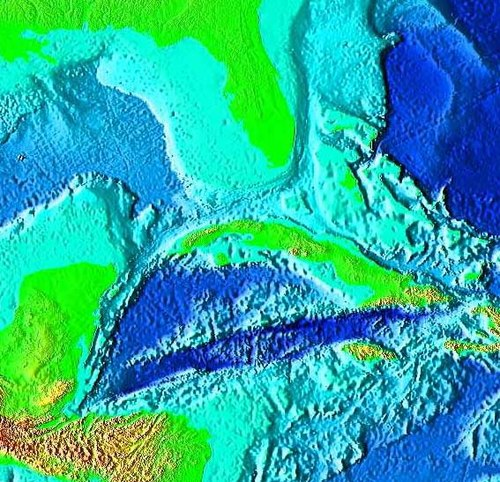 False-color image of the Cayman Trough, created from digital databases of seafloor and land elevations. Cayman Trough.jpg