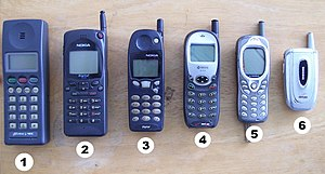 Various cellular phones from the last decade.