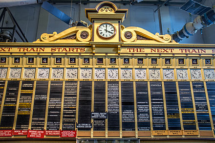 1906 Central station Indicator Board on display at the Powerhouse Museum Central Station indicator board.jpg