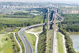 A2 motorway (Romania) - Oldest section of the motorway, Cernavodă bridges system (over Danube) inaugurated in 1987 (birds eye view)